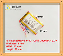 Free shipping 3.7 V lithium polymer battery 2000 mah interphone 504270 GPS vehicle traveling data recorder