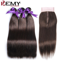 KEMY HAIR Pre-colored Brazilian Straight Hair 3 Bundles With 4x4Lace Closure Frontal Non-Remy Human Hair Weaves Medium Brown(China)