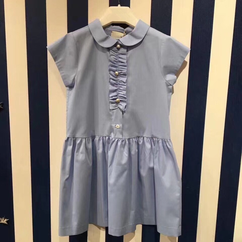 Kids 2018 College Style Blue Dress Pearl Button Decoration Casual Girls Dress Girls Summer Dress Simple&amp;Explicit Temperament<br>