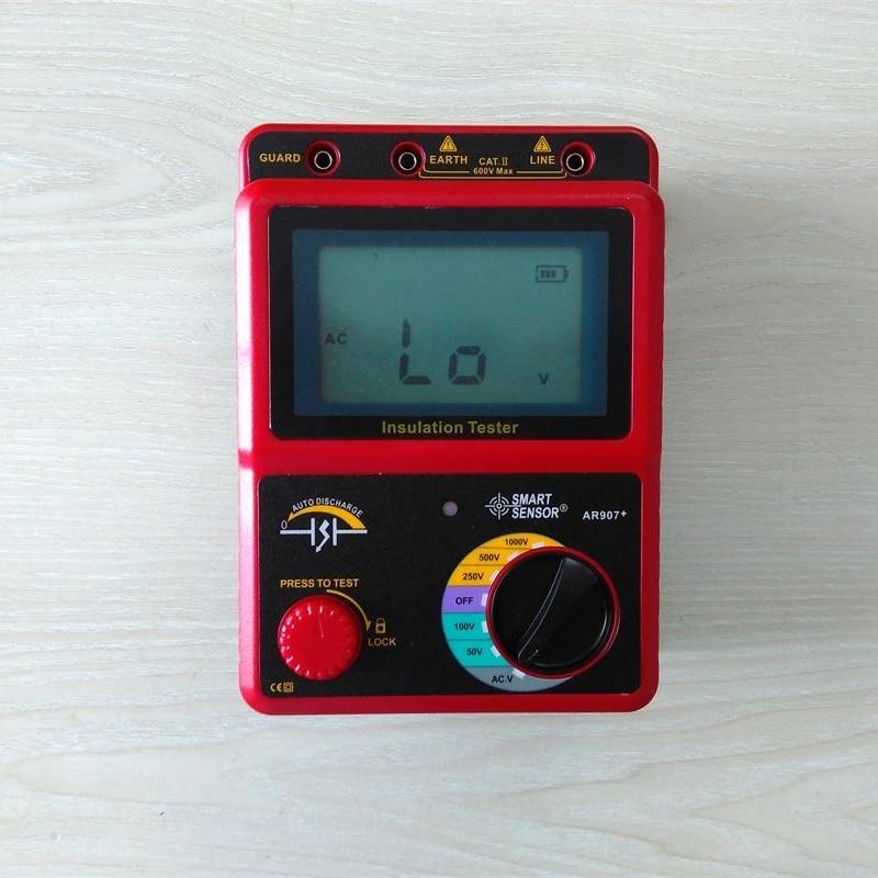 SMART SENSOR AR907+ 50V~1000V Digital High Voltage Insulation Resistance Tester Meter Voltage Meter Megger Testing Multimeter<br>