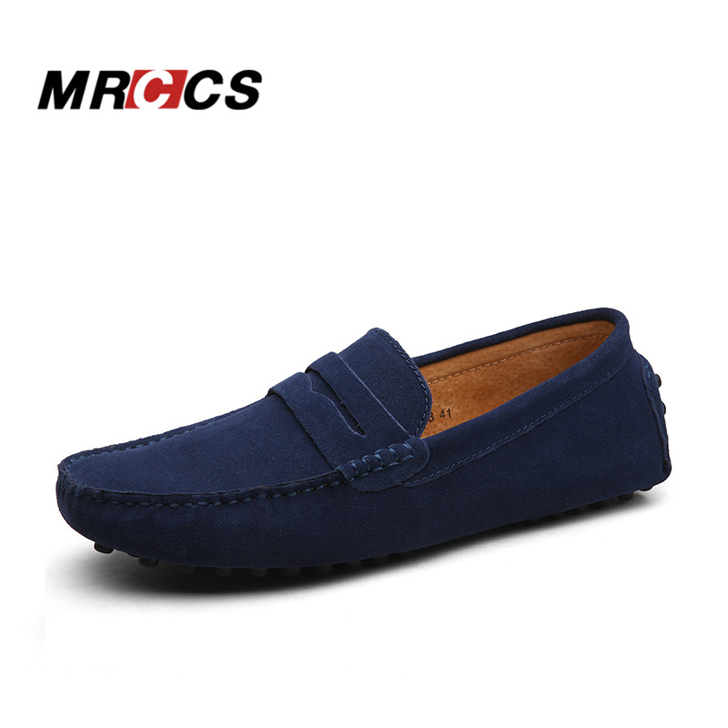 MRCCS Brand Soft Suede Leather Mens Loafers,Casual Light Weight Driving Shoes,Red Gray Color Suede Low Cut Moccasins Shoes <br>