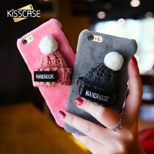 KISSCASE 2017 Lovely Cases for iPhone 7 6S Plus 6 6s 3D Hat Cute Fur Cover for iPhone 7 Case Accessories Warm Winter Cover Coque