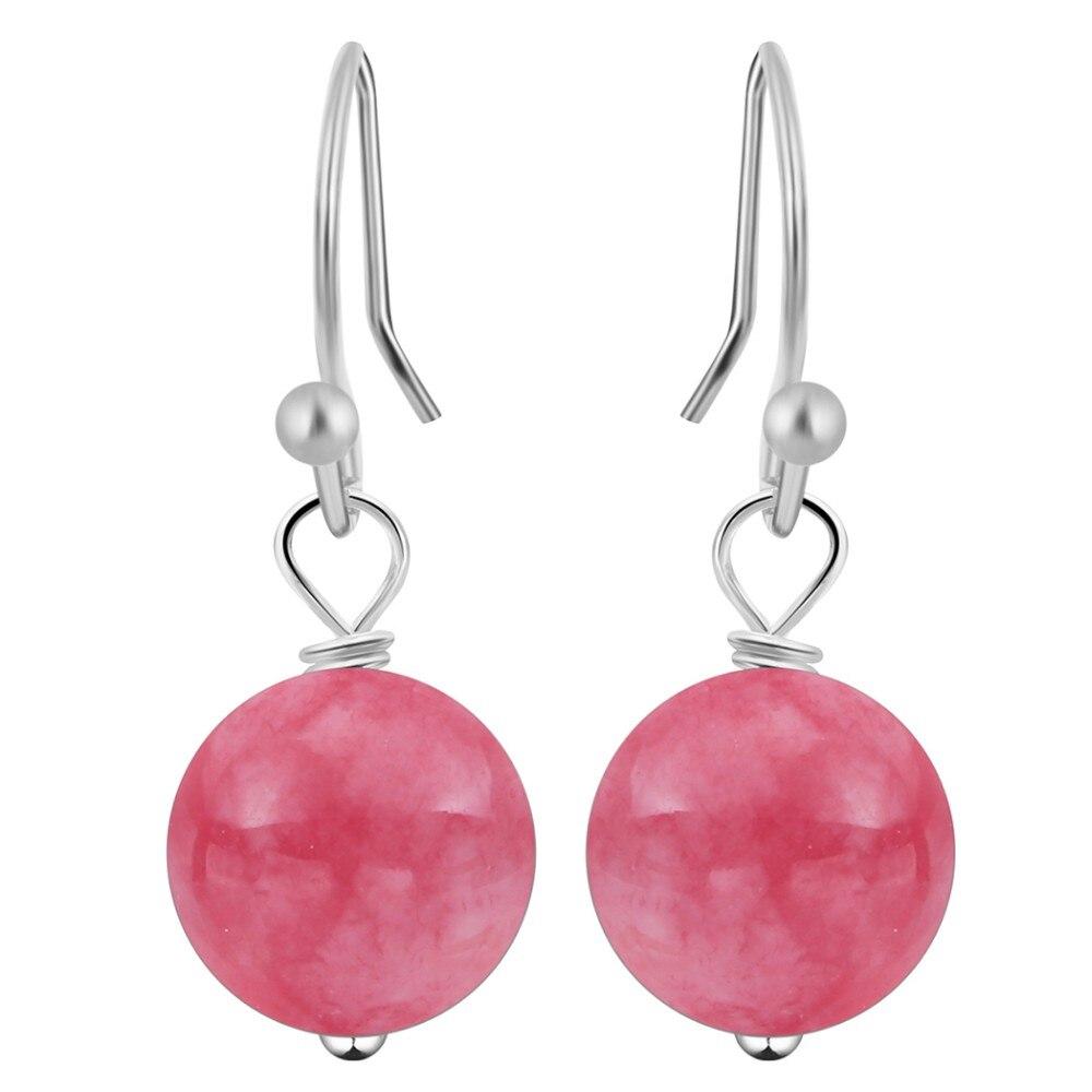 Qiming Classic Natural Stone Long Ball Drop Earrings Hook Earrings Dangling Earring For Women Teen Girls Earrings