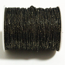 5meters Black Shimmer Ball Chain On Brass,1.2mm Bracelet Necklace Chain,Anti-Tarnish, Top Quality Free Shipping(China)