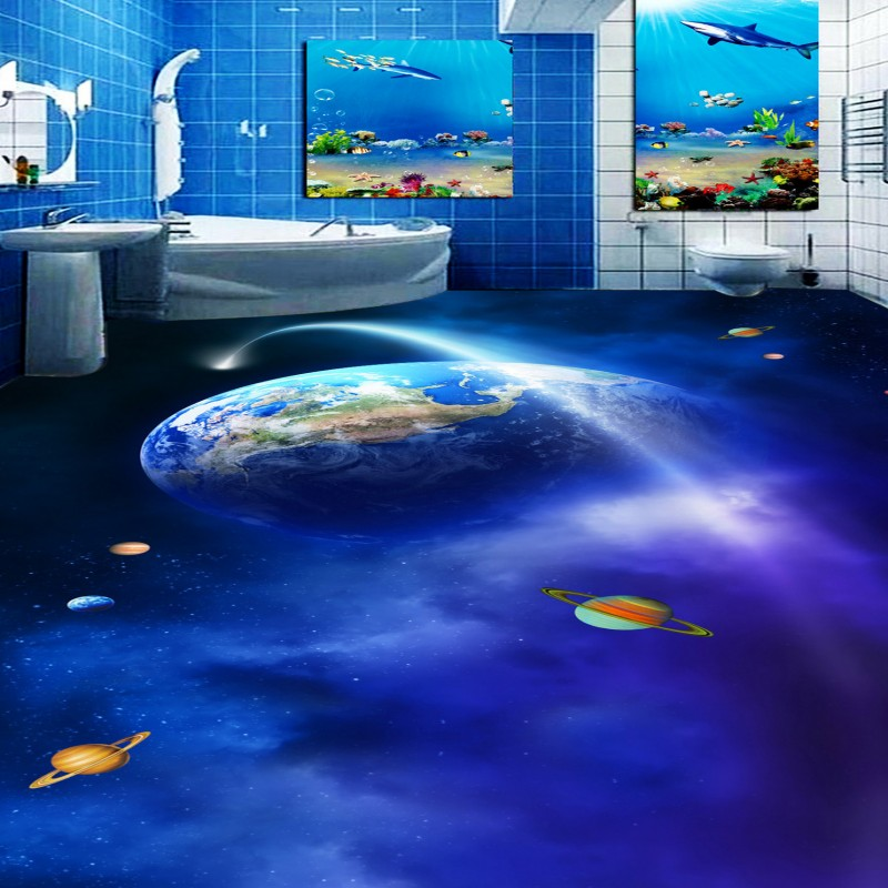 Free shipping Gorgeous Space Planet Bathroom Toilet Bathroom 3D Floor waterproof home decoration floor mural wallpaper<br><br>Aliexpress