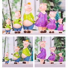 New Cute Pig a Family of Three Wedding Room Decorations Home Accessories Decoration Modern Creative Ornaments Gift T50(China)