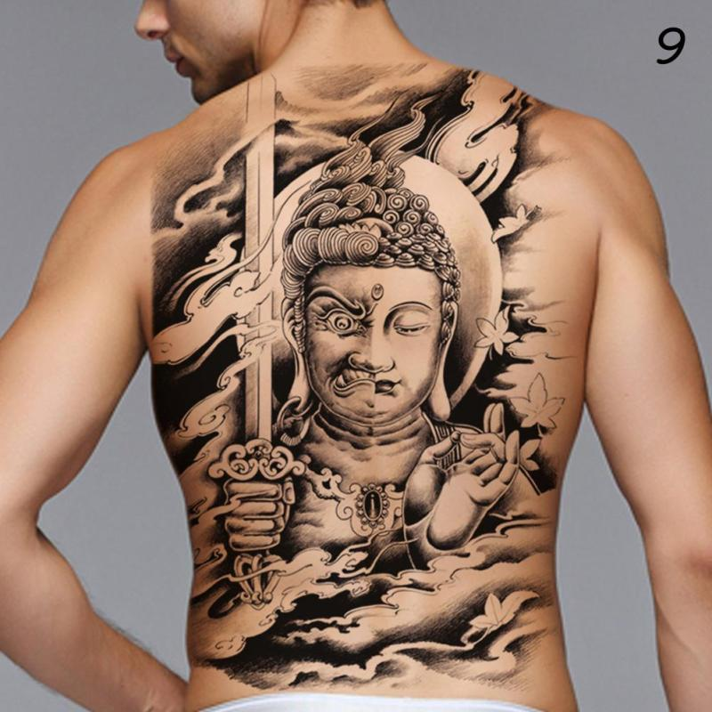 48*35cm Big size buddha ghost totem tattoo stickers men women waterproof full back body temporary tattoos RP2 10