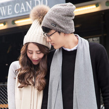 Men Women New Year Fleece Lined Winter K-pop Warm Keeper Knitted Hat Stretch Adjustable Hedging Brand Artificial Fur Dad Mom Hat
