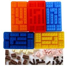 1PCS 10Hole Lego Brick Blocks Shaped Rectangular DIY Chocolate Silicone Mold Ice Cube Tray Cake Tools Fondant Moulds L105