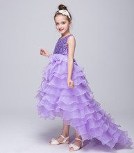 European Style Kids Swallow Tail Dress Bow Sequin Party Dresses For Juniors Designers High Low Flower Girls Wedding Dresses(China)