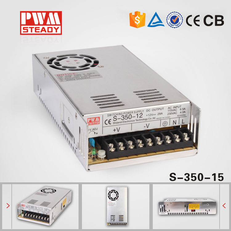 (S-350-15)High Quality and Hot Sale lower cost AC 15v350w23a  PWM STEADY Power Supply with cooling fan<br><br>Aliexpress