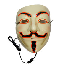 X-MERRY TOY Party Mask Men's Light Up V for Vendetta Guy Fawkes Mask Halloween Mask Costume Accessory One Size