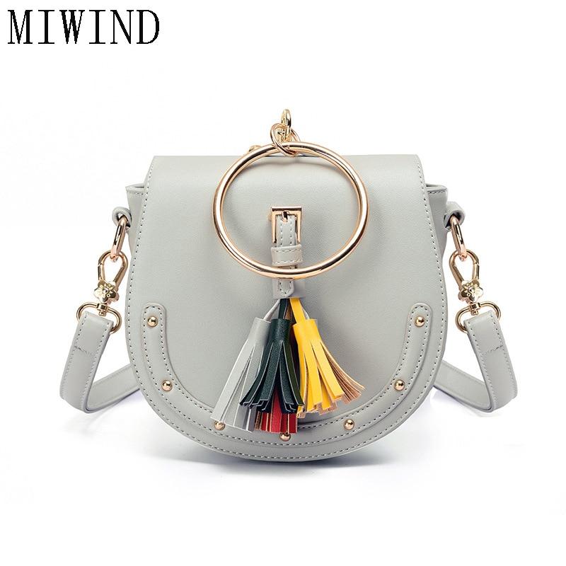 MIWIND Women Ring Handle Tassel Handbag Women Messenger Bag Shoulder Bag 2017 Ladies Girls Handbags Crossbody Bags TBB655<br>