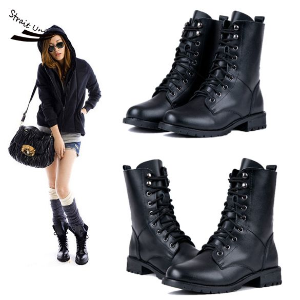 Fashion Womens PU Leather Cool Black PUNK Military Army Knight Lace-up Short Boots Shoes 22<br><br>Aliexpress