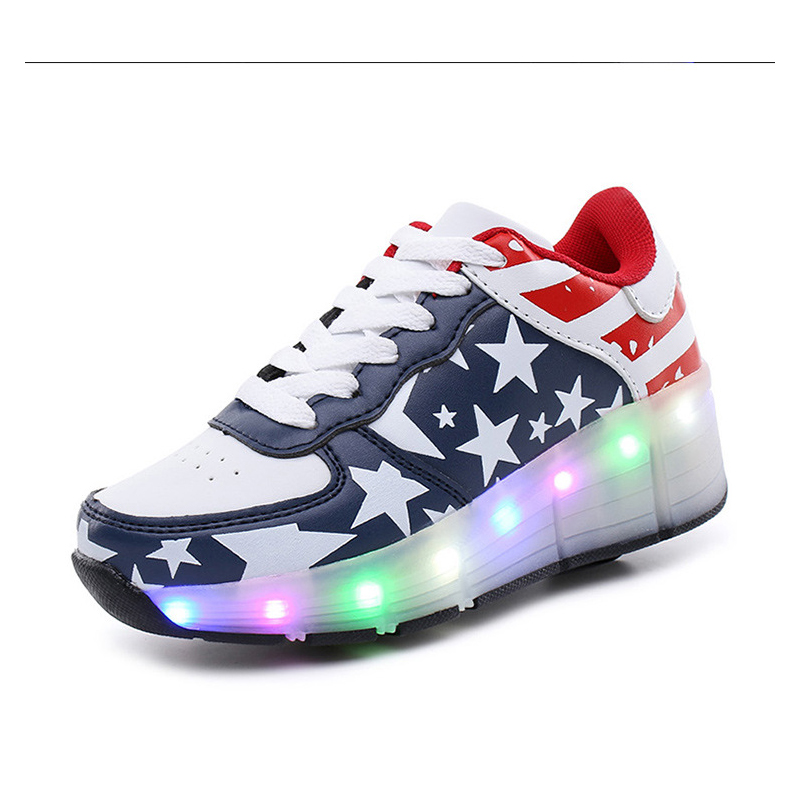 EUR 30-43// One Wheel Shoes Basket S Pulley Wheels Shoes Zapatos Automatic Wheel Lights Sports Shoes Kids Sneakers Blue Shoes<br>