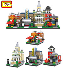 LOZ Mini Blocks Street Shop DIY Building Toys Cute Micro Store coffee Model Toy for Christmas Gift Kids Toys 1601-1608