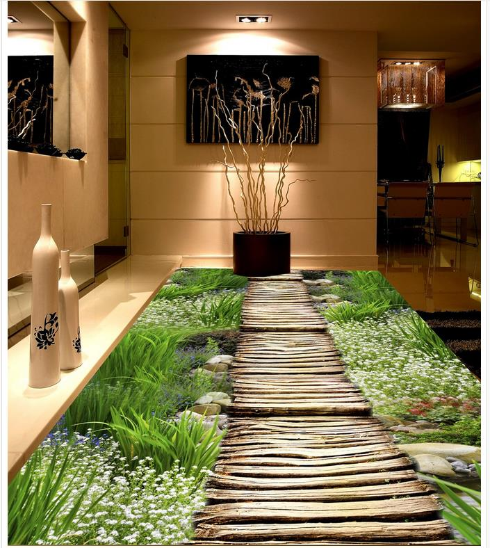 3D floor plant flowers PVC waterproof floor 3d floor wallpapers  Home Decoration Custom Photo self-adhesive 3D floor <br><br>Aliexpress