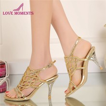 2018 Fashion Summer Sandals with Rhinestone Gorgeous Wedding Party High Heels  Plus Size 34-44 Black Gold Silver Color Available b1f5883ac1b3