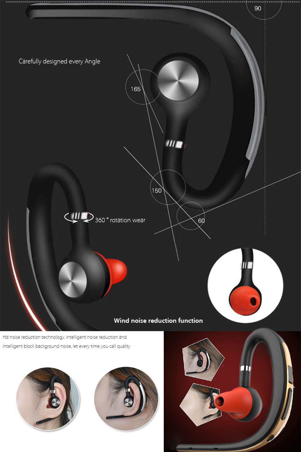 Lymoc Upgrade Y3+ Bluetooth Earphone Handsfree Ear Hook Wireless Headsets V4.1 Noise Cancelling HD Mic Music For iPhone Huawei 9