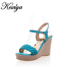 Big Size 33-43 Fashion sweet style women shoes weaving vamp high heel Platform sandals 3 kinds of color Blue beige red HXZ-X17