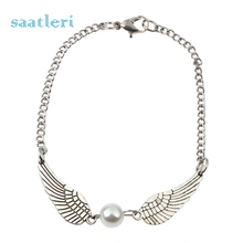 saatleri 1PC Fashion New Silver Imitation Pearl Angel Wings Jewelry Dove Peace Bracelet for Women Lady Beauty Perfect Gift(China)