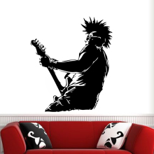 Art design cheap vinyl home decoration punk music singer wall sticker  PVC house decor guitar player cool decals in bedroom shop