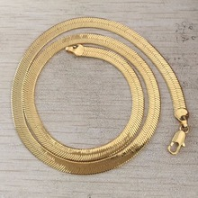 DrBonham punk jewelry men 18KGF gold filled solid stainless steel 18inches herringbone flat blade chokers chain necklace(China)