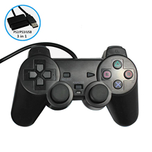 2-in-1 Wired game controller for PS3 PS2 Sony Playstation 3/2 Dualshock usb joystick gamepad for play station 3 2/PS 3 2/PC(China)