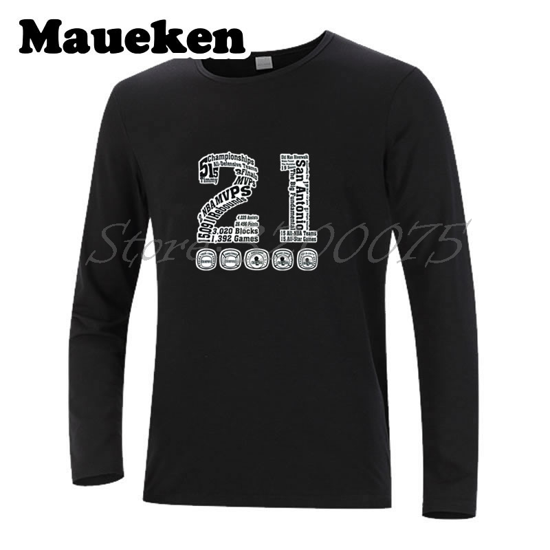 "Men T-Shirt Long Sleeve ""Greatest Ever"" Thanks for Tim Duncan 21 Autumn Winter retired Star 5 Champions MVP legend Men W1101156"