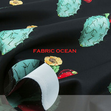 Cactus floral pattern,air layer fabric,good luster,black couture fashion fabric,sew for top,suit,jacket,dress, craft by the yard