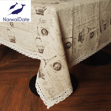European Hot Sale Universal Linen Coffee Tablecloths/ Table Cover with Small Crown Pattern for Picnic or Wedding