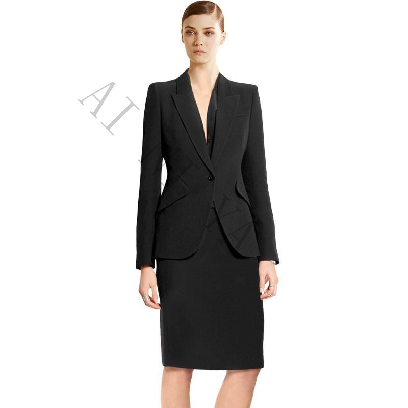 Black Women Blazer Suits Elegant With Skirt Cotton Blended Jacket+Skirt Blazer 2 Pieces Set For Women Bust skirt + suit