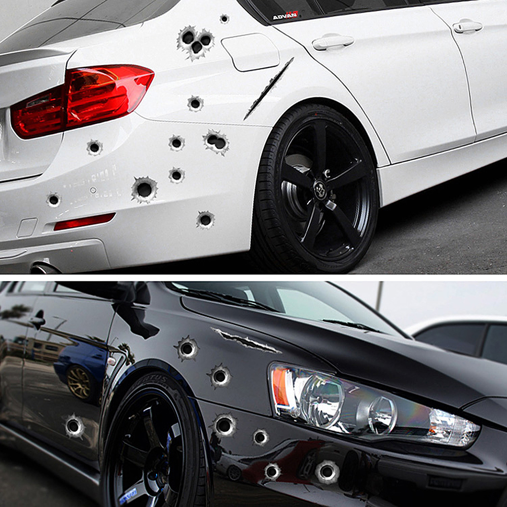 SPEEDWOW 1Pcs Car Stickers 3D Bullet Hole Funny Decal Car-covers Motorcycle Scratch Realistic Bullet Hole Waterproof Stickers