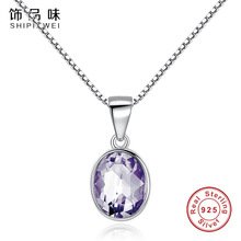 Shipinwei 2017 New Design 925 Sterling Silver Purple Zircon Crystal Round Pendant Necklace for Women Fashion Jewelry Gift