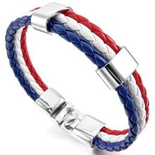 Men, alloy Leather Women Cuff Silver Blue White Red France French Flag(China)