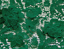 Emerald Lace Fabrics, green crocheted lace fabric, bridal lace fabric, venise lace fabric, by the yard