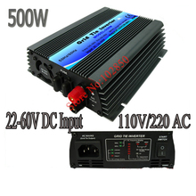 500W mppt grid tie solar inverter,pure sine wave power inverter ,22-60V DC input,120/230V AC output,CE,free shipping