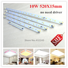 Free shipping 20 pieces 10W led bar panel SMD 5730 aluminum Plate  for ceiling. size 520x15mm 1000 Lumen. IC PCB 220V directly.