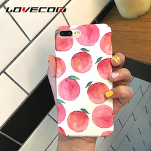 LOVECOM Cute Fruit Peach Phone Case For iPhone 6 6S Plus Matte Full protect Hard PC Back Cover Mobile Phone Bags