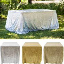 Champagne/ Gold / Silver 90 X 132 Inch Rectangular Sparkly Glitz Sequin Glamorous rectangle Tablecloth/Fabric For Event Table