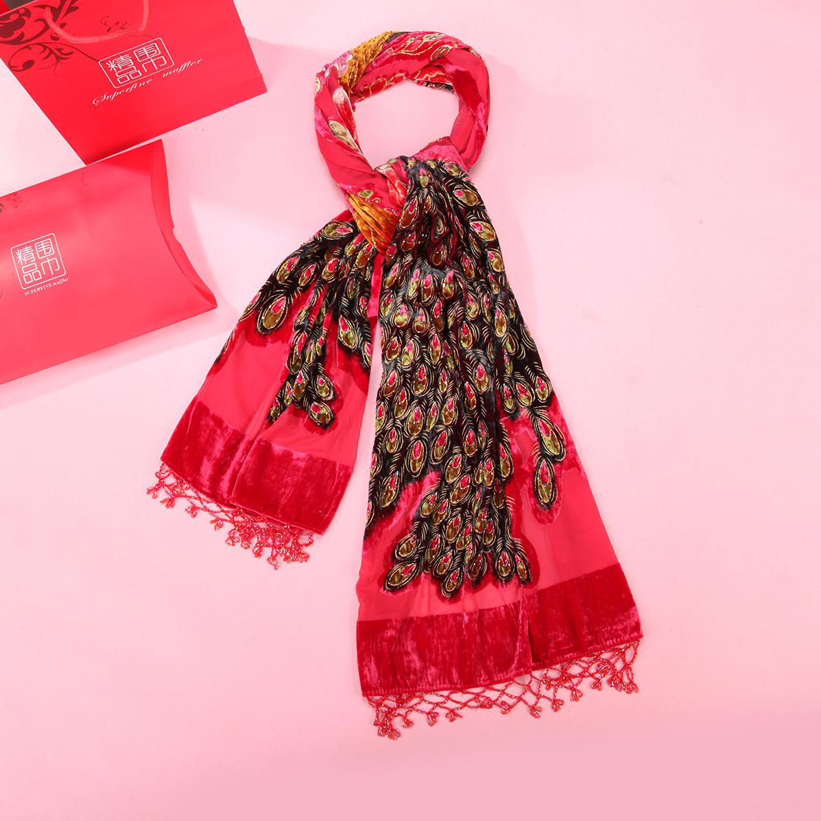 Red Peacock Beaded Chal Scarf Women Velvet Silk Scarfs Head Wraps Luxury Brand Shawl Mujer Bufanda 2019 New Cape Muslim Hijab