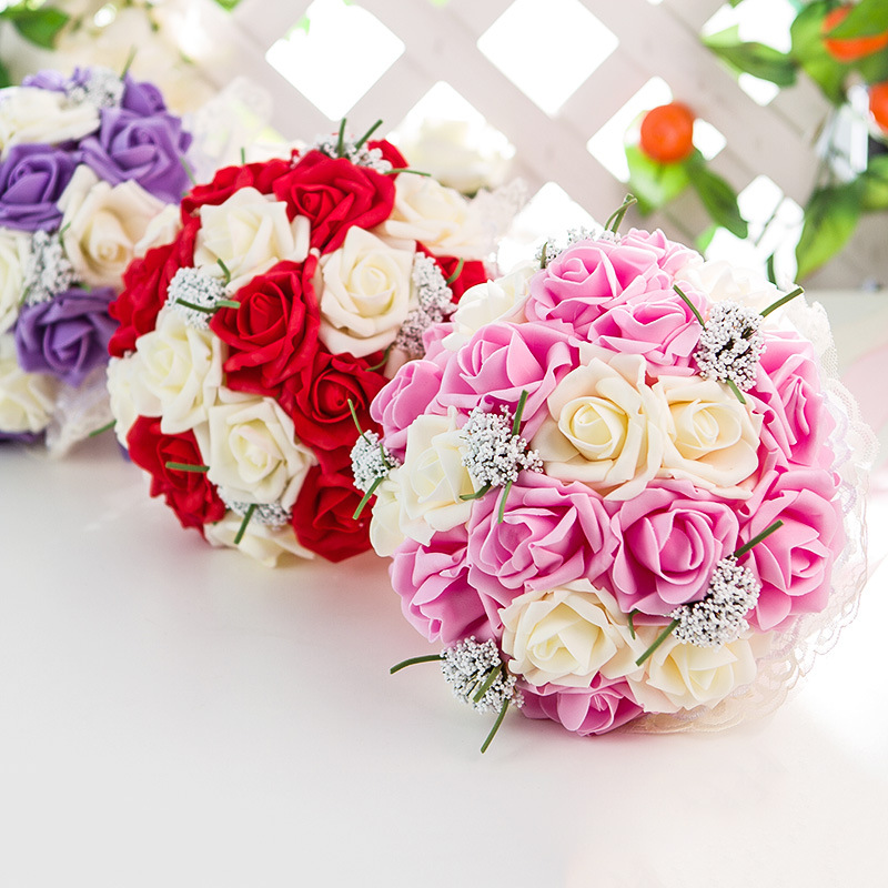 Luxurious Colorful Artificial Flowers Bridal Bouquets Lace Green Branch Wheat Foam Artificcielle For Women Wedding Decoration(China)
