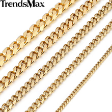 Trendsmax 3/5/7/9/11mm Gold-color Curb Link Chain Stainless Steel Necklace Boys Mens Gold Chain Jewelry KNM08
