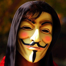 V for Vendetta Mask Guy Fawkes Anonymous Halloween Masks Fancy Dress Costume (White/Yellow) 2 Colors 1pcs/lot(China)