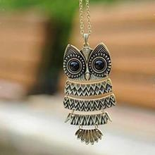 Women Necklaces Steampunk Hollow Out Cute Owl Pendants Necklaces Women Long Vintage Necklace Hematite Jewelry Animal Necklace