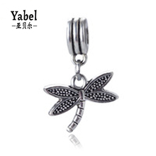 Fine Jewelry Dragonfly Pendant Charm Beads Silver Big Hole European Dangle Beas Fit Diy Pandora Charms Bracelet Findings Making
