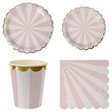 Gilding High-end Disposable Tableware Set Pink Striped Paper Plates Cups Napkins Party Wedding Carnival Tableware Supplies(China)
