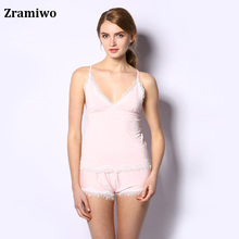 Cotton Cami and Shorts Set Comfy Pajamas Modal Nighties Sleeveless Nightgowns Women's Pajamas Sets(China)