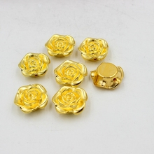 New 12mm/19mm Color Gold Resin ABS Imitation Pearls Rose Flower Designed Flat Back Cabochon Pearls For DIY Decoration(China)