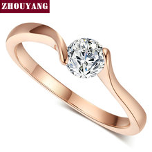 Top Quality Concise Crystal Ring Rose Gold Color Austrian Crystals Full Sizes Wholesale ZYR239 ZYR422(China)